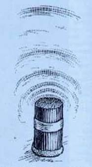 Efekt   struktury jamy wytworzony sztucznie przy pomocy pęku papierowych rurek